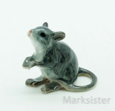 Figurine Animal Ceramic Statue Tiny Gray Grey Rat Mouse Mice - CCK137