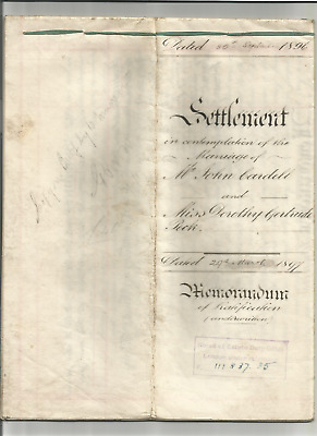 Marriage settlement - Cardell, Peck, Wallis, Parkstone Dorset, indenture, deed,