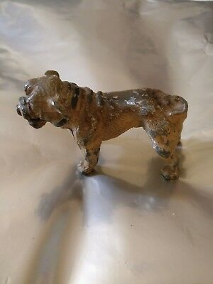 Vintage Cold Painted Bull Dog Business Card Holder Rare stamped Germany.
