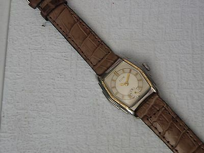 1930ish ELGIN LARGE ART DECO STEPPED CASE MAN`S 2 TONE WATCH...AWESOME DIAL