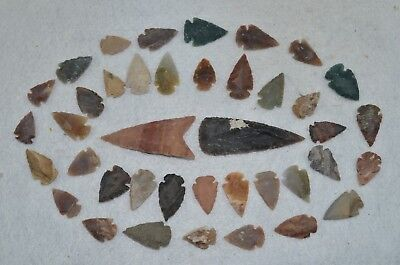 """40 PC Flint Arrowhead Ohio Collection Points 2-3"""" Spear Bow Knife Hunting Blade"""