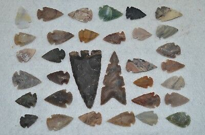 "33 PC Flint Arrowhead Ohio Collection Points 2-3"" Spear Bow Knife Hunting Blade"