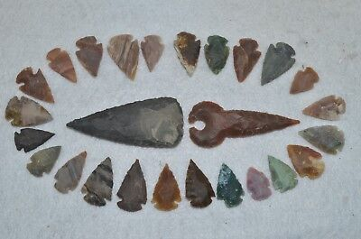 """26 PC Flint Arrowhead Ohio Collection Points 2-3"""" Spear Bow Knife Hunting Blade"""