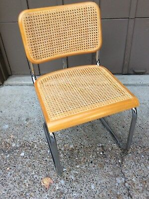 Marcel Breuer Style Cesca Cantilever Dining Chair Mid Century Modern Caned Oak