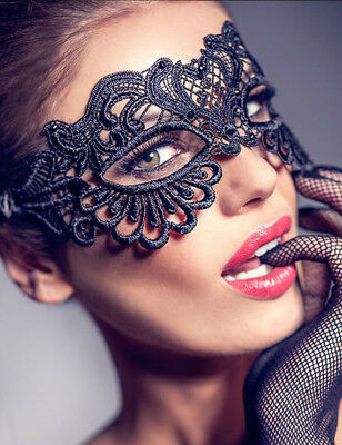 Masquerade Eye Mask Ladies BLACK LACE Gothic Fancy Dress Hen Party Halloween Enc