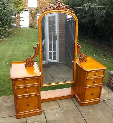 A Fine Victorian Satinwood Cheval Mirror Dressing Table.