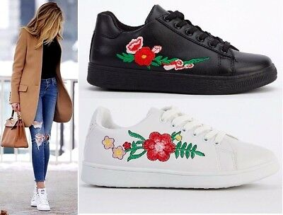 Women's Embroidered White Black Casual Lace Up Flats Sneakers Trainer Shoes 3-8