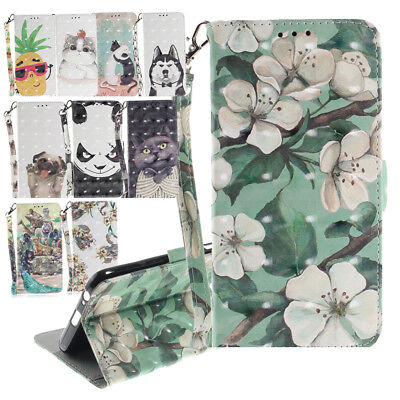 Cute Pattern Phone Case for Samsung A6 J3 J8 2018 Card Holder Leather Stand Flip