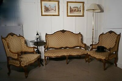 French Finest Quality 3 Piece Salon Suite, in Walnut with Velvet Upholstery