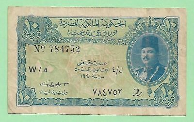 Royal Government of Egypt 10 Piastres, Farouk, 1940, P-168a, Signed by I. Sedky.