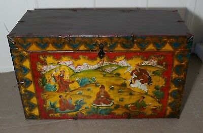 Oriental Folk Art Painted Chest or Coffer