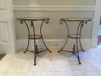 Pair Of Onyx And Brass French Directoire Style Gueridon Side Tables
