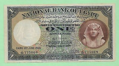 1948 National Bank Of Egypt 1 Pound, P-22d, Signed by Ross, J/120, S. # 775069
