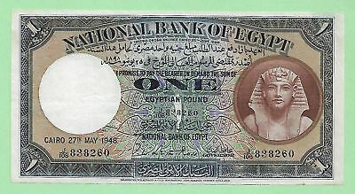 1948 National Bank Of Egypt 1 Pound, P-22d, Signed by Ross, J/108, S. # 838260