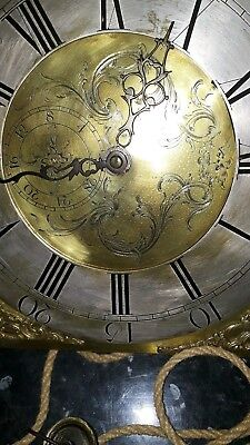 Early Brass Dial And Movement For Longcase Grandfather Clock  30hr