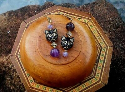 Black Cat Amethyst Earrings boho hippy pagan witch wicca ~ The Hedgerow