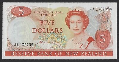 New Zealand ND(1981-89) P-171 Gem UNC 5 Dollars REPLACEMENT/STAR ISSUE