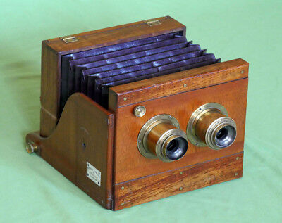 RARE MURRAY &  HEATH STEREO WET HALF PLATE TAILBOARD CAMERA MAHOGANY BRASS c1870