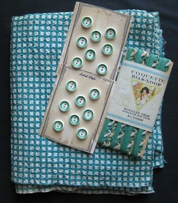 Vintage Green Checked Fabric/Material with matching Novelty Trim and buttons