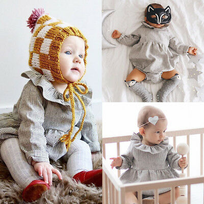 Toddler Infant Baby Boy Girl Long Sleeve Striped Romper Jumpsuit Outfits Clothes