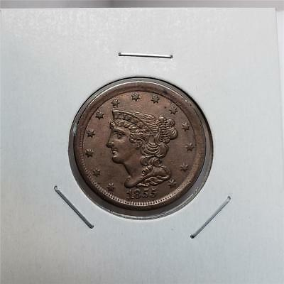 1855 Braided Hair Half Cent - Better Date- Great Looking Piece - Scarce