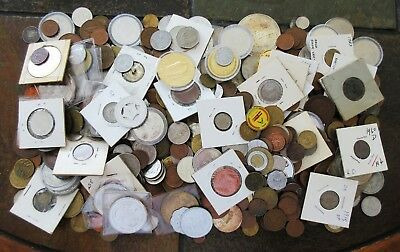7+ Pounds  Old World Coins & Tokens >Interesting Lot (Many Collectibles) No Rsrv