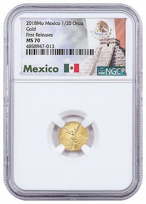 2018-Mo Mexico 1/20 oz Gold Libertad 0.05 NGC MS70 FR Exclusive Label SKU54890