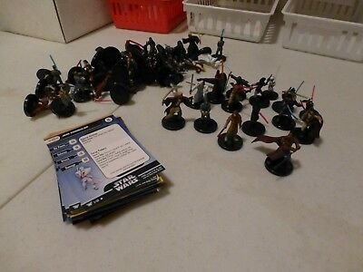 Star Wars miniatures 20 jedi minis with cards,