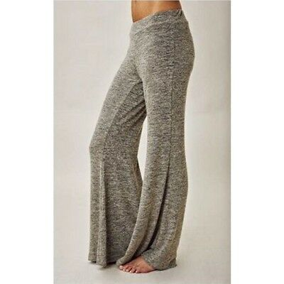 Women Wide Leg Long Pants Elastic Waist Casual Loose Sport Gym Soft Pants 8C