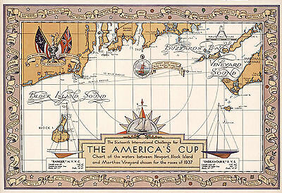 1937 Pictorial Map The 16th International Challenge America's Cup Poster Decor