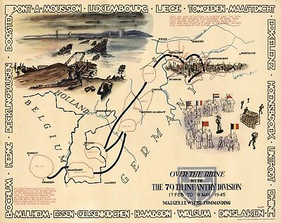 Pictorial Military War Map 1945 WWII TO THE RHINE 79th Infantry Division Poster