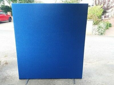Large Office Divider / Room Partition - Blue Fabric - 160cm Wide x 182cm High