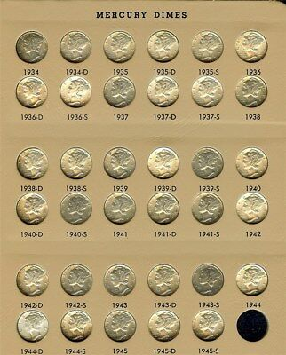 1934-1945-S Mercury Silver Dime 35 Coin Collection Unc To Bu  Some Nice Toning!