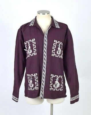 Vtg 1970s South American Aztec Embroidered Plum Purple Long Sleeve Shirt Mens XS