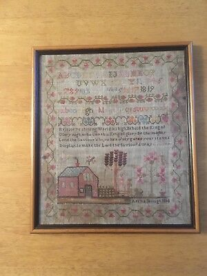 Antique Sampler, By Arena Hough, 1818 Complete With 5 Page Family History