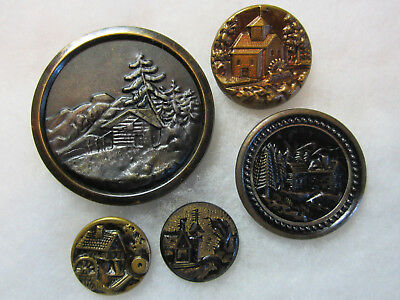 Lot Of 5 Antique/ Victorian Metal Building/ Architectural Picture Buttons