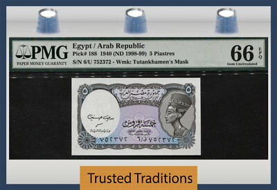 Tt Pk 188 1998-99 Egypt Arab Republic 5 Piastres Pmg 66 Epq Gem Uncirculated!