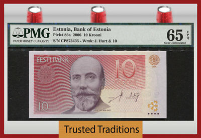 "TT PK 86a 2006 ESTONIA 10 KROONI ""JACOB HURT"" PMG 65 EPQ GEM UNCIRCULATED!"