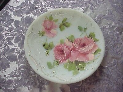 "Antique milk glass 10"" plate with hand painted pink roses...very old!"