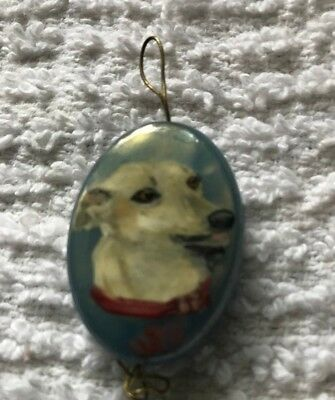 HAND PAINTED Fawn GREYHOUND Pendant