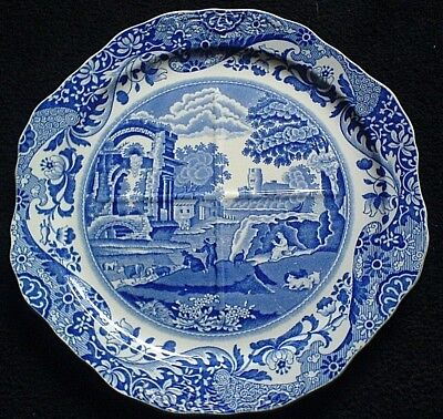 COPELAND SPODE ITALIAN  Scene Blue/White 4 Section 8 sided Plate c1937