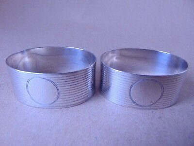 Excellent Antique Pair Sterling Silver Oval Napkin Rings 1927, Not Engraved