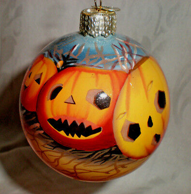 """reverse painted 2 3/4"""" Halloween PUMPKINS ornament OWC Old World Christmas 1989?"""