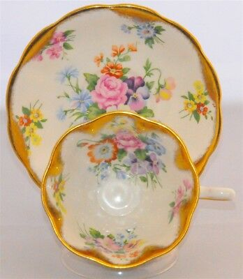 Royal Albert Tea Cup & Saucer Wide Mouth Heavy Gold Floral Bouquet
