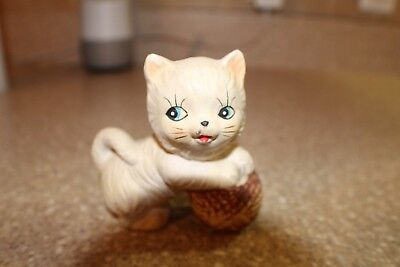 Vintage Kitten with Ball of Yarn Small Ceramic Figurine Made in Japan by Chadwic