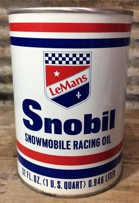 MINT Vtg LeMans SNOBIL Snowmobile Racing Oil FULL MOTOR OIL 1 QUART METAL CAN