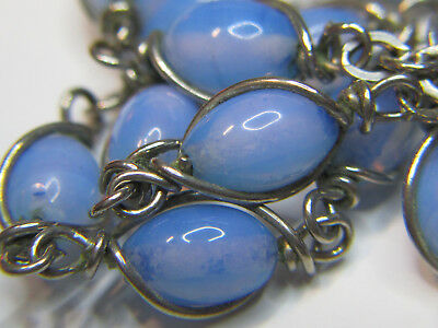 "† Htf Vintage Unbreakable Wire Wrapped Opaque Blue Rosary Rosario Necklace 35"" †"
