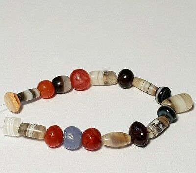 A Beautiful Strand Of 19 Ancient (Agate, Carnelian, Blue Chalcedony,... ) Beads
