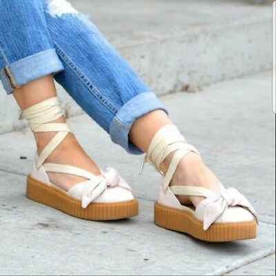 on sale 8984b 0e00f NWOB PUMA FENTY by Rihanna Bow Creeper Sandal Oatmeal Size 8 Lace up Ankle  Strap