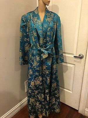 Vintage Ying Tai Co. Hong Kong China Silk Turquoise Robe
